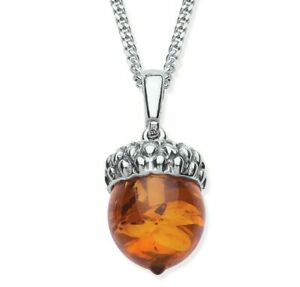Sterling Silver REAL AMBER Acorn Pendant ~ Choice of Chain / Necklace