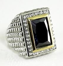 Black Crystal CZ Ring Silver Gold Cable Statement Chunky Premier Quality Size 7