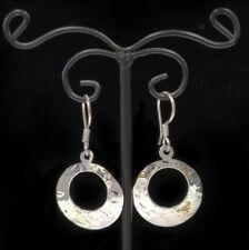 Sterling Silver Round Hammered Drop Earrings, 925 Silver Women's Earrings