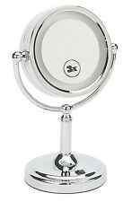 "Vanity Makeup Mirror,  5"" Lighted Pivoting 2-Sided 3X Magnifying 20236 - Chrome"