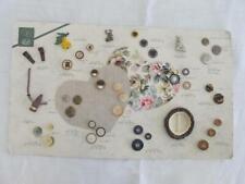 More details for vintage button buckle tradesmans sample display board metal plastic figural