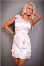 Crossdresser Sissy Elegant Pink Satin One Shoulder Mini Clubwear Dress Size L