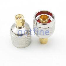 2PCS N male Plug to SMA male plug Straight RF connector adapter