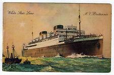 MV BRITTANIC WHITE STAR LINE SS Olympic CRUISE LINER PC Postcard OCEAN Ship WSL