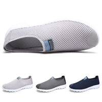 Mens Summer Breathable Tennis Shoes Lightweight Slip On Loafers Walking Sneakers