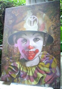 MILITARY CLOWN WITH PEACE HELMET & JUNGLE GREENS PRINT ON CANVAS 95 X 70 CM ARMY