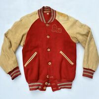 Vintage 1940s Distressed Leather Bob 40s Wool Letterman Jacket Car Club Hot Rod