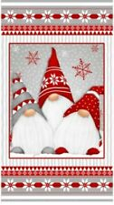 """Henry Glass Winter Whimsy FLANNEL  F1622P 89 Red/Grey Gnomes 24"""" Panel FLANNEL"""