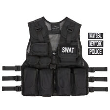 Kids USA SWAT Vest + POLICE, NAVY SEAL, NEW YORK, Ages 5 - 12,  FREE SWAT Tags
