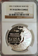 ~☆GORGEOUS☆~ PF-70 Ultra Cameo 1991-P KOREAN WAR $1 Dollar Commemorative NGC