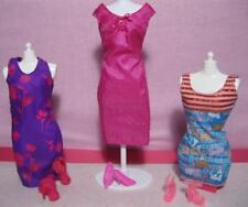 3 Complete Barbie Fashion Doll Dress outfits/Shoe Lot Floral Print Hip Stripe se