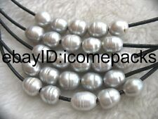 "5strands freshwater pearl gray egg & black leather necklace 18"" nature beads"