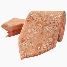 8625deb09fb3 Luxury Peach Orange Mens Tie Handkerchief Set Silk Floral Pocket Square  Hanky