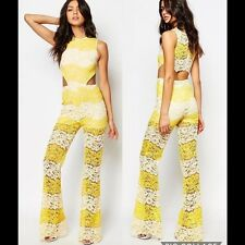 NWT Foxiedox New Ladies X-Small UK 8 Yellow & White Mona Panelled Lace Jumpsuit