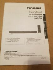 Original Panasonic DVD-S48 DVD-S68 DVD Player Owners Instruction Manual