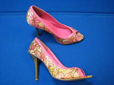 7 M Charlotte Russe Ladies High Heel shoes Pink Hot Soft Satin Womens Open Toe 7