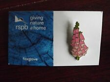RSPB GNaH foxglove Metal Pin Badge on Blue FR Card