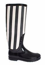NEW DOLCE & GABBANA Boots Shoes Womens Black White Rubber Rain Knee EU38 / US7.5