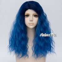 48CM Lolita Mixed Blue Ombre Curly Fluffy Party Heat Resistant Cosplay Wig+Cap