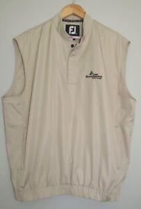 New Men's FootJoy FJ Golf Tan Beige Wind Rain Pullover Snap Vest Sz M