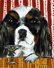 cavalier king charles spaniel martini art bar 13x19 dog art PRINT JSCHMETZ