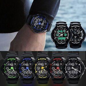 SKMEI Mens LED Digital Analog Alarm Waterproof Sport Army Watch Wristwatch New