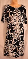 women's Connected Apparel black & white dress size 10 short sleeves MsRP $69 new