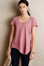 6f6dcb5980371 Anthropologie Left of Center Slubbed Palette Tee shirt asymmetrical sz XS  pink