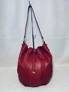 Sigrid Olsen Bucket Bag RED Leather Tote Slouch Hobo Drawstring Shoulder Bag