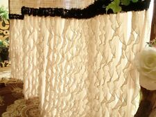 Ruffled! SHABBY Rustic Chic Burlap SHOWER Curtain Country Black Trim Beige Fancy