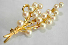 14K Solid Gold and Pearl Floral Pin