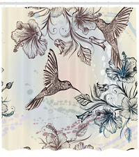 Shower Curtain Birds Nostalgia Hibiscus Flowers Patterns 70 Inches Long