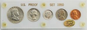 1950 US Proof Set 3 Silver Coins Capital Acrylic Coin Holder 1c-50c US Coins