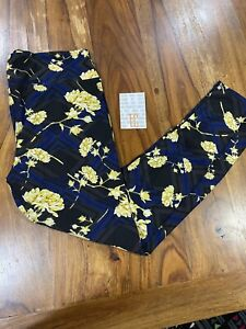 Lularoe TC Tall Curvy Leggings navy blue black yellow roses  NWT
