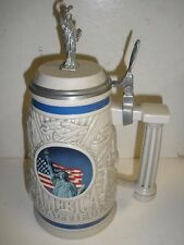 "Avon Collectible 1998 Beer Stein, America the Beautiful, 10.5"" Pewter Top #34430"
