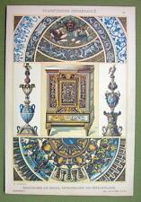 RENAISSANCE Enamel Paintings Mosaics Limoges Louvre - 1880s Color Litho Print