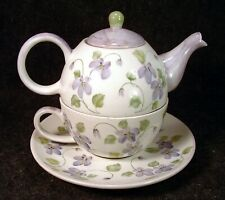 Vintage Andrea by Sadek China Hand Painted Violets Stacked Tea Pot & Cup Set