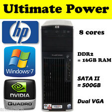 HP XW6600 QuadCore 2x 2.50Ghz 16GB RAM 64-Bit Windows 7 Desktop GAMING PC 500GB