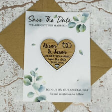 Personalised Rustic Leaf Wedding Save The Date Heart Fridge Magnet Card Invite