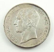 1865 Belgium 5 Francs Silver Coin - Leopold Premier - AU to AU+ Condition
