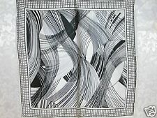 New 100% Charmeuse Silk Scarf Bandana Black White Art