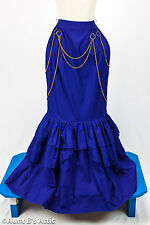 Steampunk Skirt Mermaid Style Long Royal Blue Cotton Victorian Era Ladies Skirt