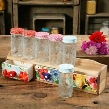 NEW The Pioneer Woman Floral Medley 7pc Kitchen Storage Spice Jars Rack