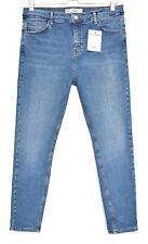 Topshop Super Skinny JAMIE Blue High Rise Crop Stretch Jeans Size 16 W34 L30