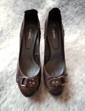 COOL Womens Leather Court Heels Shoes Brown Size 39 EUC
