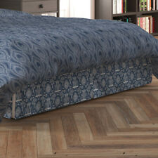 Carolina Linens Tailored Bedskirt in Spirit Regal Navy Blue Oriental Toile