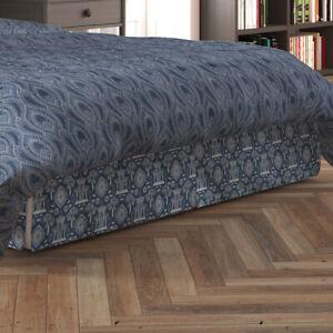Carolina Linens Tailored Bedskirt in Spirit Regal Navy Blue Oriental Toile