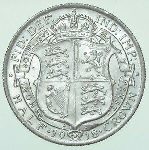 1918 GEORGE V HALFCROWN, BRITISH SILVER COIN AU