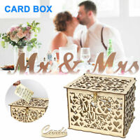 Wooden Wedding Card Post Box with Lock Collection Gift Card Boxes Weddings Decor