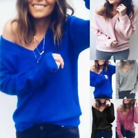 Women V-neck Long Sleeve Sweater Baggy Loose Knitwear Knitted Jumper Blouse Tops